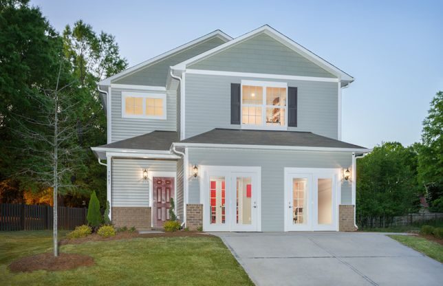 Harris:Harris Exterior 8 features brick accents, siding, shakes, covered front door and 2 car garage (Sales