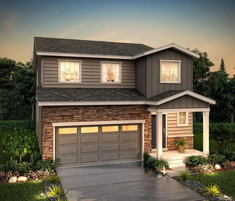 Rendering of 29204 Elevation B at Homestead Crystal Valley in Castle rock by Century communities:29204 Elevation B