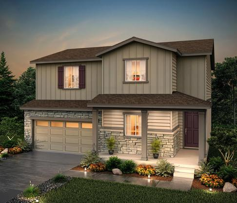 Rendering of 39206 Elevation B at Homestead Crystal Valley in Castle rock by Century communities:39206 Elevation B