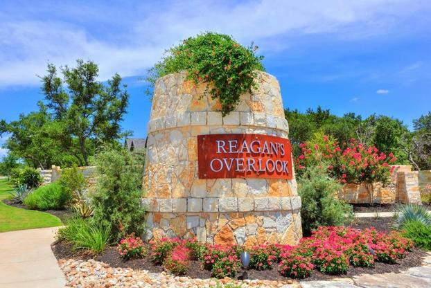 Stone entry monument at Reagan's Overlook, in Leander.