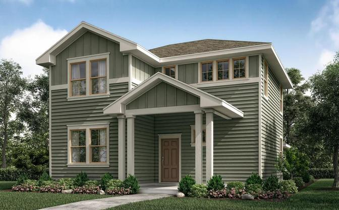 The Llano rendering elevation B, at Crystal Springs - The Falls in Leander, by Century Communities.:Elevation B