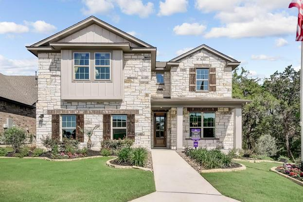 Beautiful Stone Exterior on the Osage Model home built in the San Antonio Division at the Alamo Ranc:Stone Exterior
