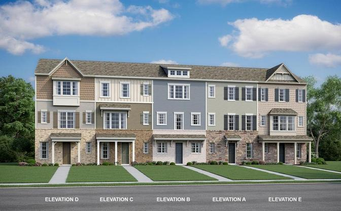 The Brighton is a three story townhome with 2 bedrooms, 2 baths and an attached two car garage.