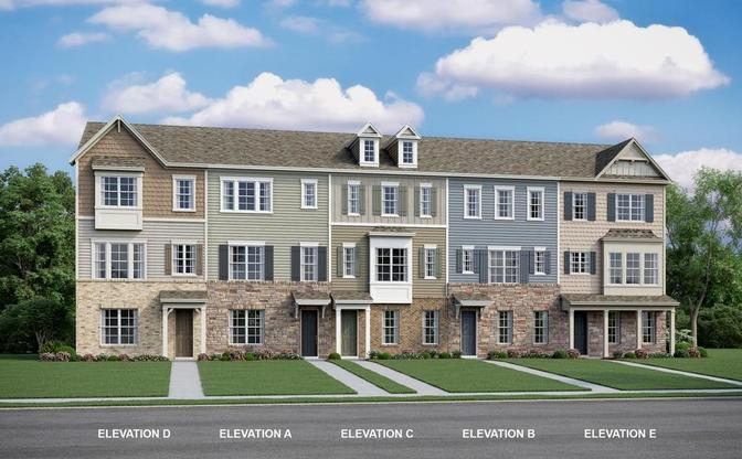 The Stratford is a three story townhome with 3-4 bedrooms and a open concept main level with island