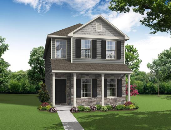 Two story, 3 bedroom home design offering a kitchen with casual dining area and lots of storage.
