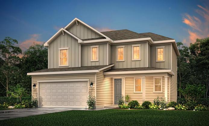 2 story home with three bedrooms and an open concept main level.