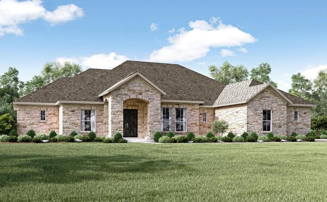 Rendering of the Heritage plan, elevation A, at Butler Ranch Estates in Dripping Springs, by Century:Elevation A