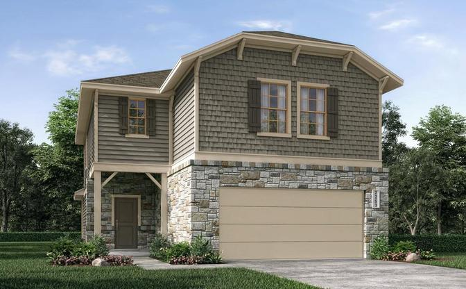 Elevation F:The Newton rendering elevation F, specific to Grayson, in Leander, by Century Communities.