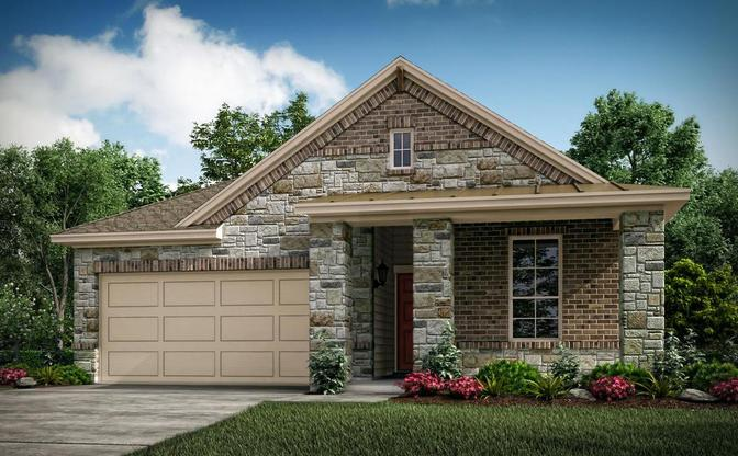 The Pinion rendering elevation C, specific to Crystal Springs - The Lakes, in Leander, by Century Co:Elevation C