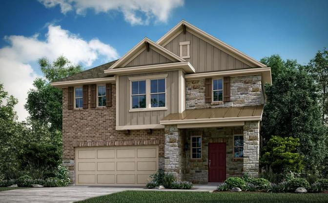 The Lacey rendering, elevation C, at Alterra in Leander, by Century Communities.:Lacey Elevation C