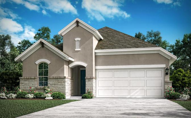 The Ponderosa rendering, elevation D at Alterra in Leander, by Century Communities.:Ponderosa Elevation D