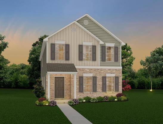 Two story, 3 bedroom home design offering a loft and main level open concept.