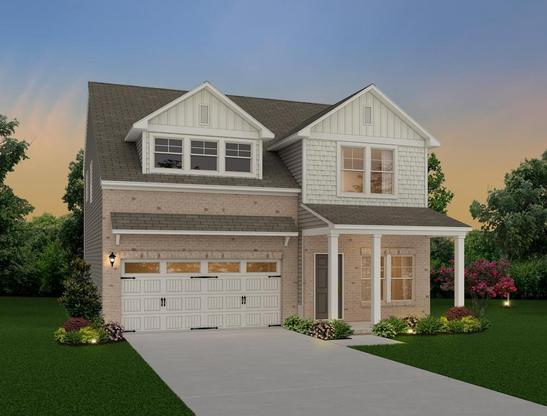 Two story, 3 bedroom home design offering a loft and owner's suite with sitting area.