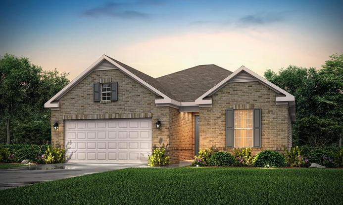 3 bedroom split ranch plan with open living and private owner's suite.