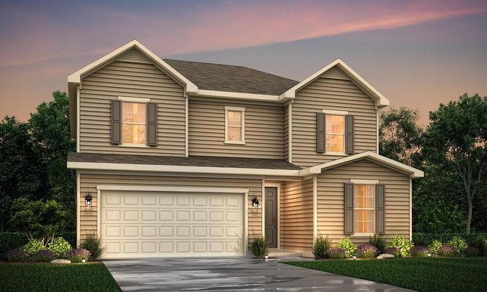 Two story home with 3-4 bedrooms and open kitchen.
