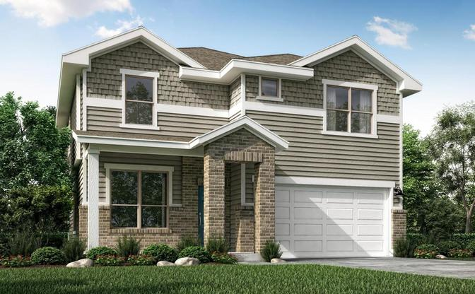 The Walnut rendering, elevation A, at Alterra in Leander, by Century Communities.:Elevation A