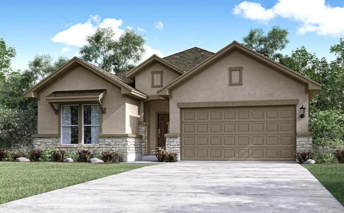 The Acacia elevation D rendering, specific to The Classic collection at SaddleCreek, in Georgetown,