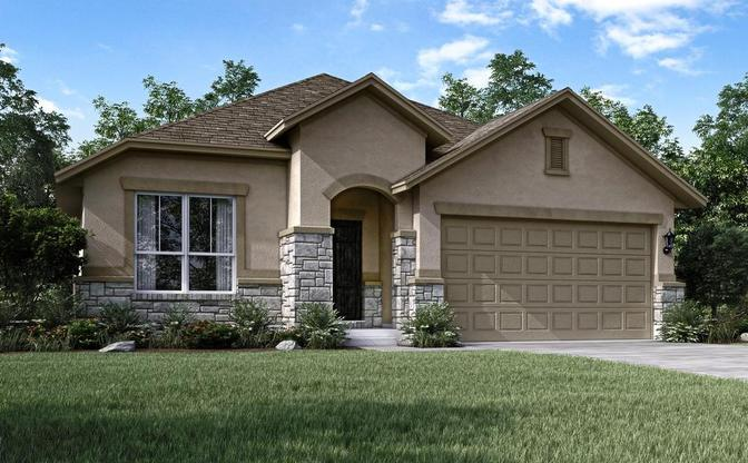 The Aspen elevation D rendering, specific to The Classic collection at SaddleCreek, in Georgetown, b