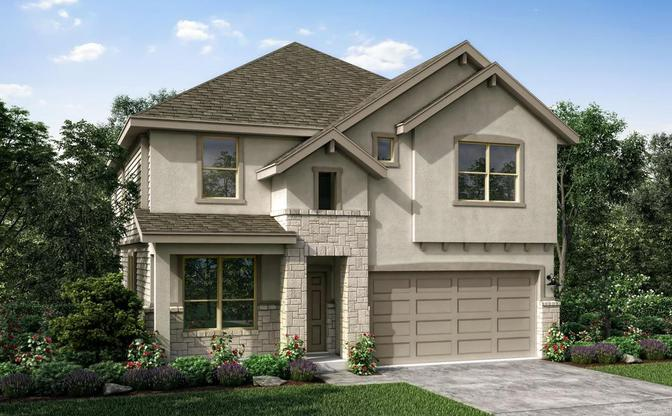 The Walnut elevation C rendering, specific to The Classic collection at SaddleCreek, in Georgetown,