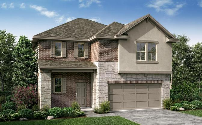 The Redbud elevation C rendering, specific to The Classic collection at SaddleCreek, in Georgetown,