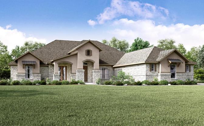 The Carolina rendering elevation D, at Butler Ranch Estates in Dripping Springs, by Century Communit:Elevation D