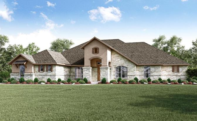 The Harden rendering, elevation D, at Reagan's Overlook, an acreage community in Leander, by Cen:Elevation D