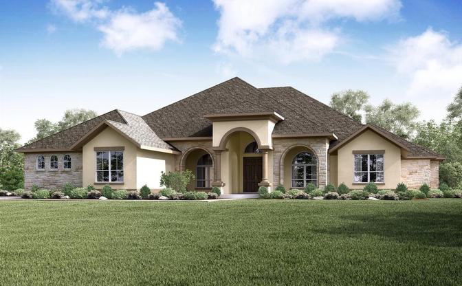 The Crystal Falls rendering, elevation D, at Reagan's Overlook, an acreage community in Leander,:Elevation D