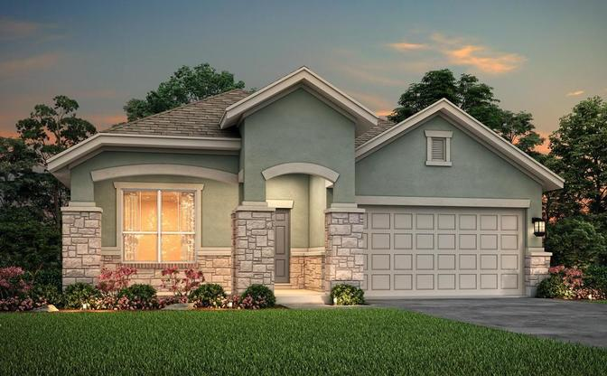 The Carson elevation D rendering, specific to Crystal Springs - The Lakes, in Leander, by Century Co