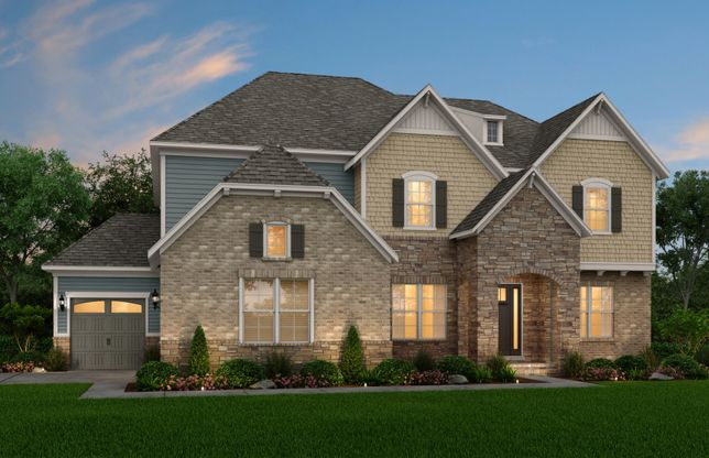 Townsend:Townsend Exterior 6 features stone, brick, shake, siding, covered front door and 3 car side load gar