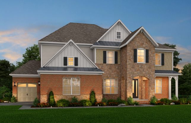 Exterior:Townsend Exterior 8 features stone, brick, shake, siding, covered front porch and 3 car side load garage
