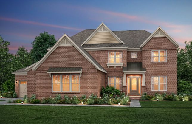 Hampton:Hampton Exterior 11 features brick, covered front door and 3 car side load garage