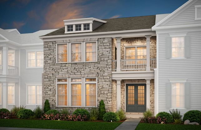 Exterior:Fairmont Exterior 5 features stone, covered porch and deck, and 2 car rear garage