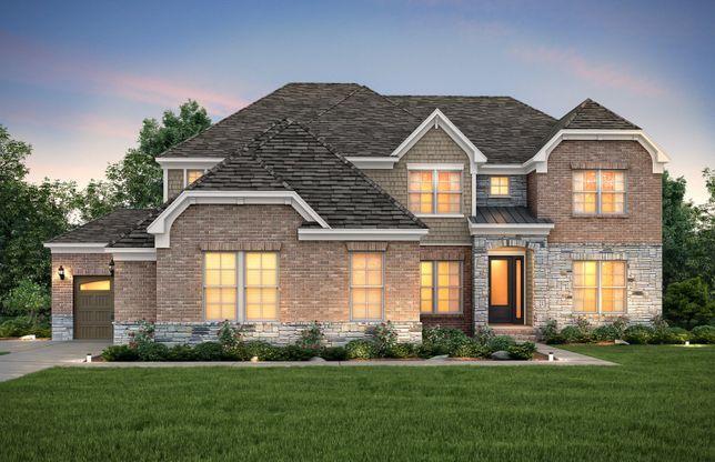 Hampton:Hampton Exterior 8 features stone, brick, shakes and covered front door