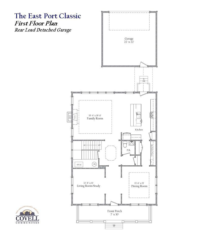 First Floor Plan with Rear Load Garage