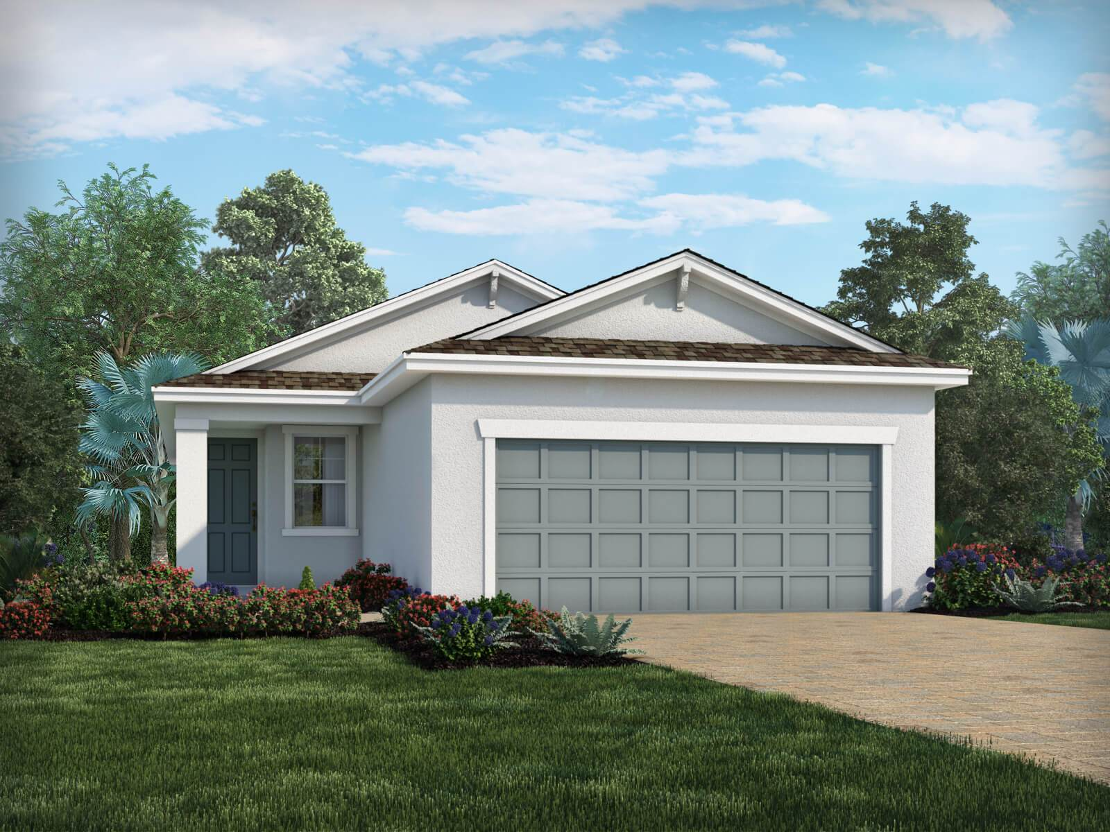 Exterior featured in the Poinciana - Meritage Homes  By Crown Community Development