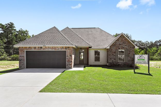 Painted door- Painted Shutters- Brick- Stucco- Cypress Beam- Front Elevation- Model Home- Silver ...:Silver Hill Front Elevation
