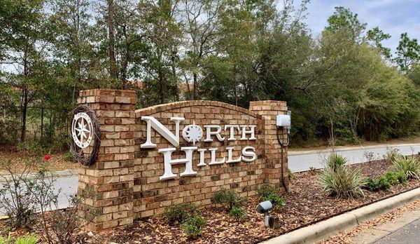 North Hills Front Entrance Sign -MILTON, Florid:North Hills Front Entrance Sign -MILTON, Florida