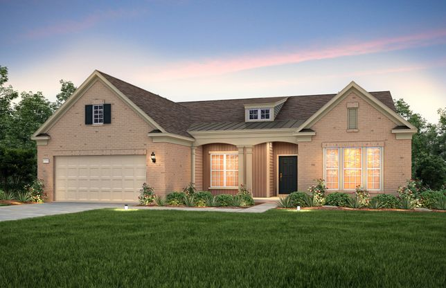 Exterior:Dunwoody Way Exteriorv8 features brick, siding, covered front sitting porch and 2 car garage
