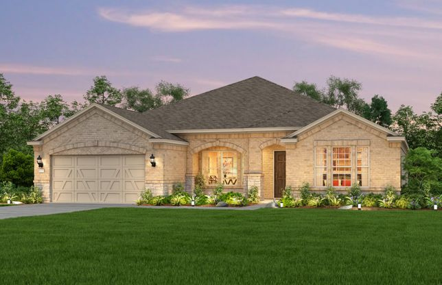 Exterior:Exterior B, the Tangerly Oak with stone accents, covered front porch, and 2-car garage with storage