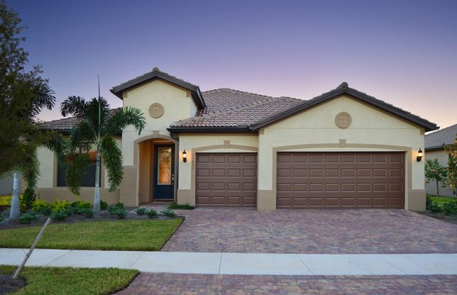 Infinity:Home Exterior FM2A with decorative brick paver driveway