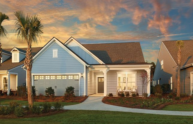 Summerwood:The Summerwood one-story home with 2-car garage and full front porch, showing Home Exterior LC2A