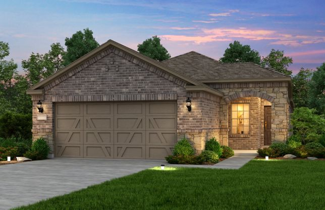 Exterior:Exterior E, the Taft Street with stone accents and 2-car garage