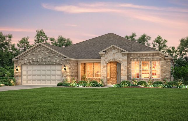 Exterior:The Tangerly Oak, a one-story home with 2-car garage, shown with Home Exterior C