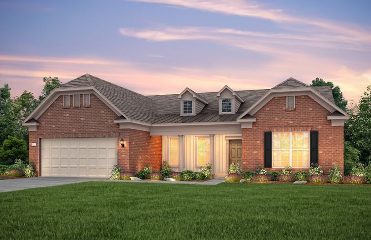 Tangerly Oak:Tangerly Oak Exterior 8 features brick, siding and covered front porch