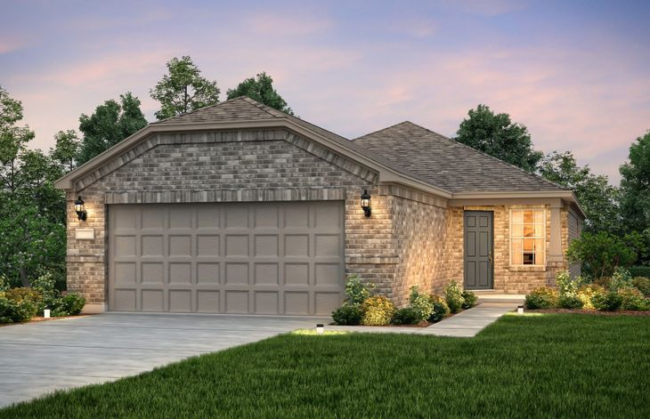 Exterior:The Steel Creek, a one-story home with 2-car garage, shown with Home Exterior B