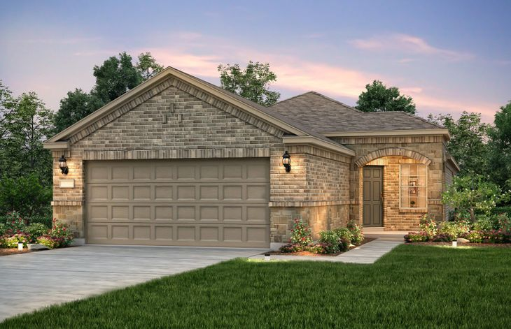 Exterior:The Steel Creek, a one-story home with 2-car garage, shown with Home Exterior E