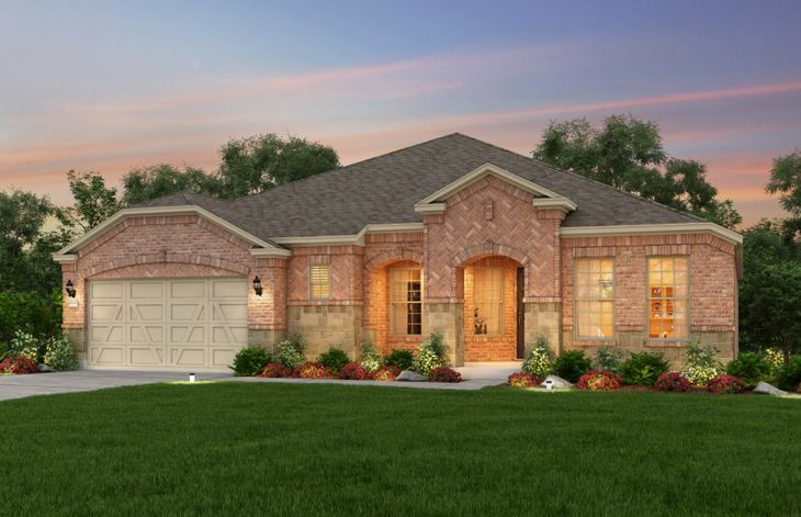 Exterior:The Sonoma Cove, a one-story home with 2-car garage, shown with Home Exterior D