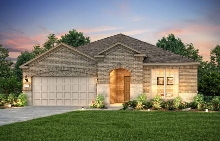 Exterior:The Abbeyville, a one-story plan with 2-car garage, shown with Home Exterior C