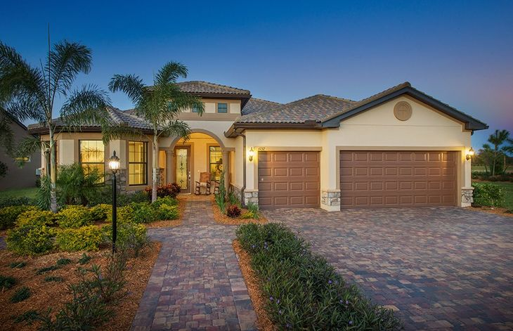 Pinnacle:Home Exterior FM3A with decorative brick paver driveway