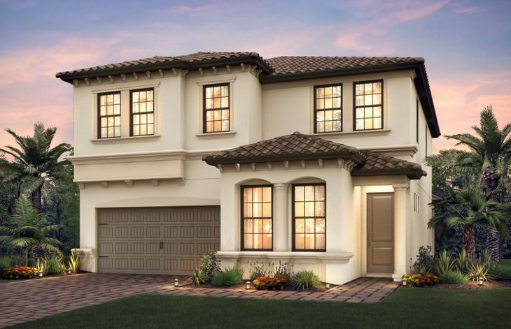 Riverwalk:The Riverwalk, a two-story family home with a 2 car garage, shown with Home Exterior FM2A